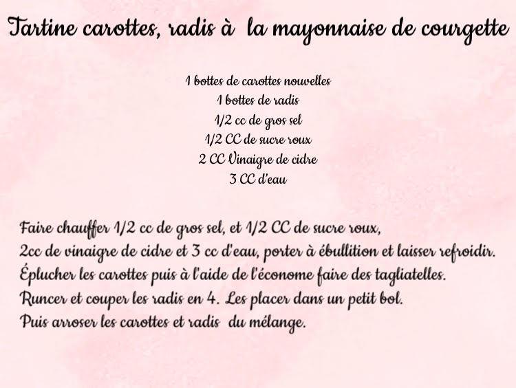 tartine de carottes radis et mayonnaise de courgettes